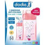 DODIE biberons anti colique Initiation+ 270ml ROSE LICORNE 0 -6 mois tétine ronde débit 2 – lot de 2 de la marque Dodie image 1 produit