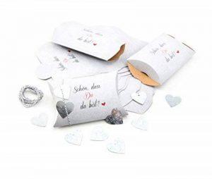 Lot de 25Boîte Cadeau de boîte cadeau en carton Box–14,5x 10,5cm + 3cm de haut floral en blanc, rouge, noir avec cœur et jolie que tu es là texte et 25Tôle d'argent cœur de la marque Logbuch-Verlag image 0 produit