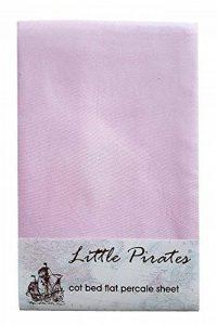 Rose Lit Bébé/Lit bébé lit Drap Plat Percale 100% Coton Brossé de la marque Little Pirates image 0 produit